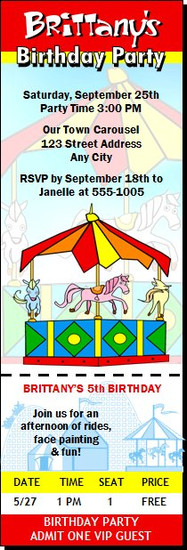 Carousel Birthday Party Ticket Invitation