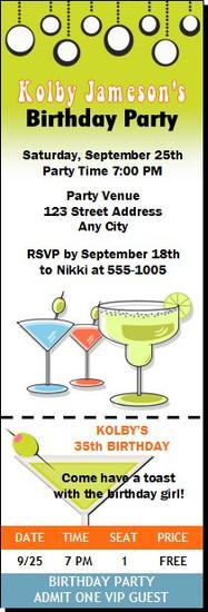 Cocktails Retro Birthday Party Ticket Invitation