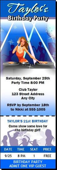 DJ Hottie Birthday Party Ticket Invitation