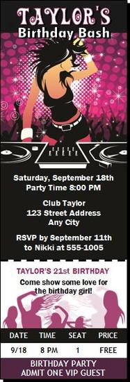 DJ Rocker Chick Birthday Party Ticket Invitation