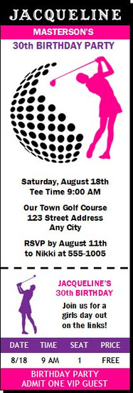 Golf Swing Female Birthday Party Ticket Invitation
