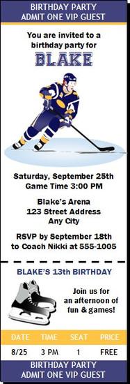 Hockey Birthday Party Ticket Invitation