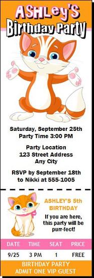 Kitten Birthday Party Ticket Invitation