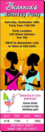 Ladies Night Out Birthday Party Ticket Invitation