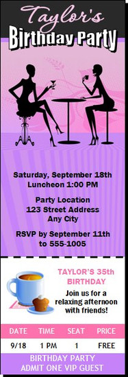 Ladies Who Lunch Birthday Party Ticket Invitation
