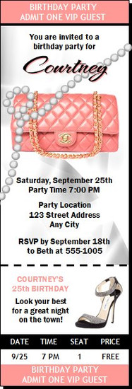Lady with Style Birthday Party Ticket Invitation