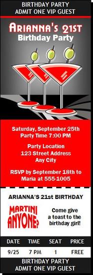 Martinis Anyone Birthday Party Ticket Invitation