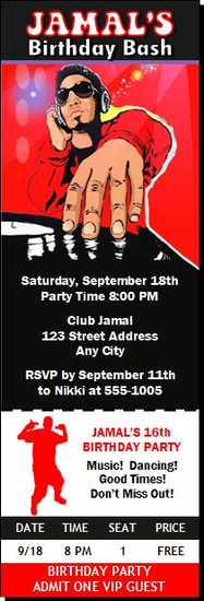 Master Funk DJ Birthday Party Ticket Invitation