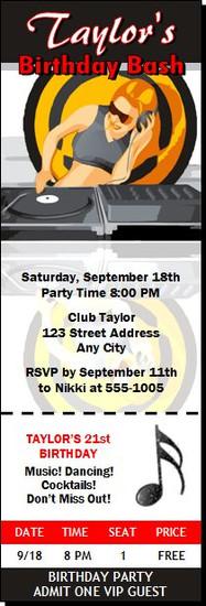 Master Spinner Birthday Party Ticket Invitation