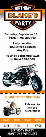 Motorcycle Birthday Party Ticket Invitation