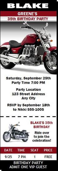 Motorcycle Chrome Birthday Party Ticket Invitation