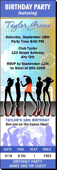 Nightclub Blue Birthday Party Ticket Invitation