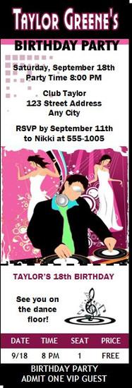 Nightclub DJ Birthday Party Ticket Invitation