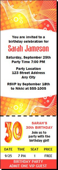 Red & Yellow Graphic Birthday Party Ticket Invitation