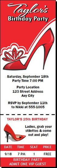 Red Stiletto Birthday Party Ticket Invitation