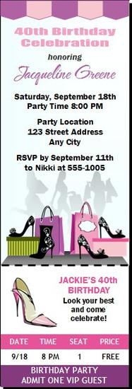 Shopper Birthday Party Ticket Invitation