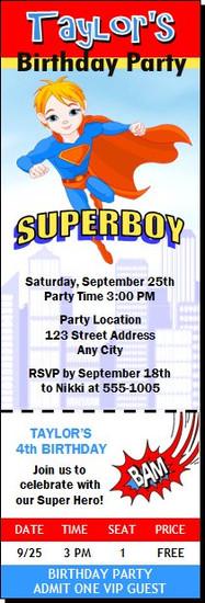 Superboy Birthday Party Ticket Invitation