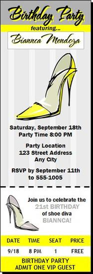 Yellow Stiletto Birthday Party Ticket Invitation
