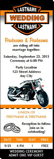 Motorcycle Wedding Ticket Invitation