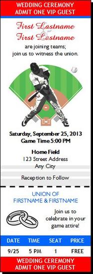 Baseball Slugger Wedding Ticket Invitation