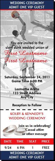 Basketball Slamdunk Wedding Ticket Invitation