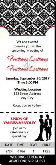 Black & White Wedding Ticket Invitation