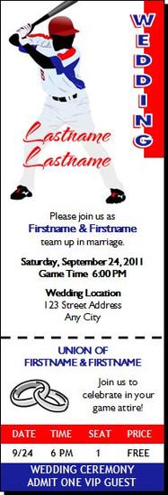 Baseball Player Wedding Ticket Invitation