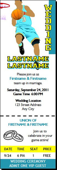 Basketball Aqua Yellow Wedding Ticket Invitation