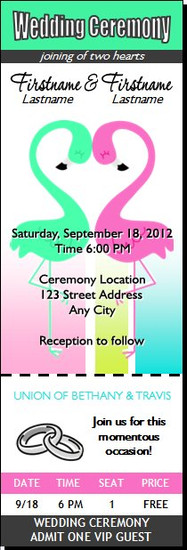 Flamingo Love Wedding Ticket Invitation