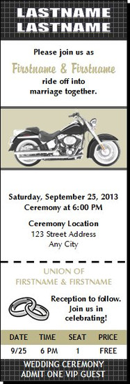 Motorcycle BW Wedding Ticket Invitation