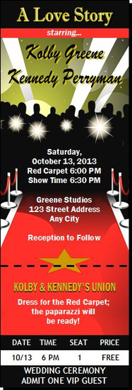 Red Carpet Paparazzi Wedding Ticket Invitation