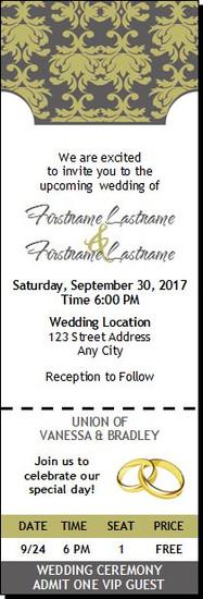 Shabby Khaki Ornate Wedding Ticket Invitation