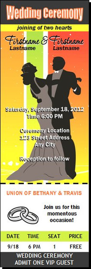 Sherbert Dance Wedding Ticket Invitation