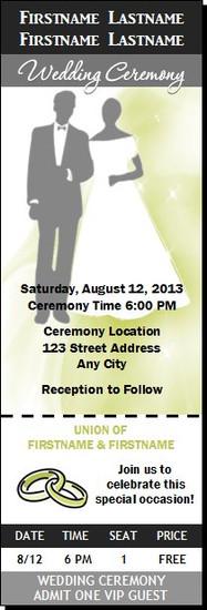 Silhouettes Wedding Ticket Invitation