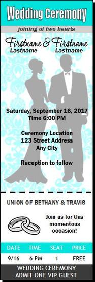 Tiffany Blue Damask Wedding Ticket Invitation