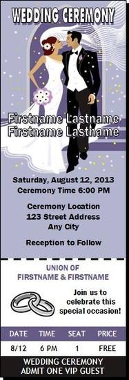 Wedding Walk Eggplant Wedding Ticket Invitation
