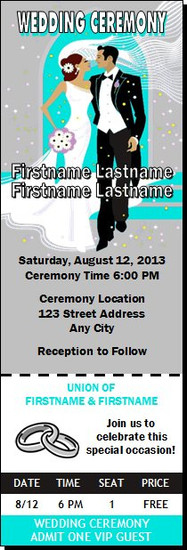 Wedding Walk Teal Wedding Ticket Invitation