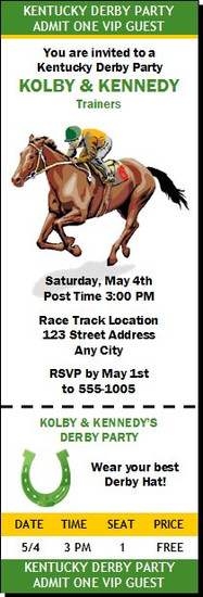 Kentucky Derby Party Ticket Invitation Design 2