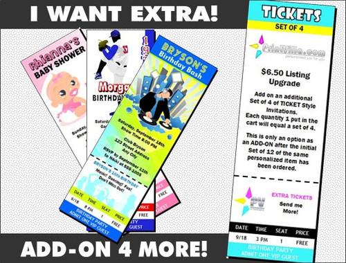 Ticket Invitations Add-On, Set of 4