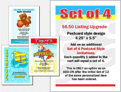 Postcard Invitations Add-On, Set of 4