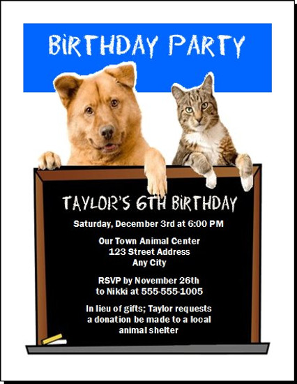 Animal Lover Birthday Party Invitation
