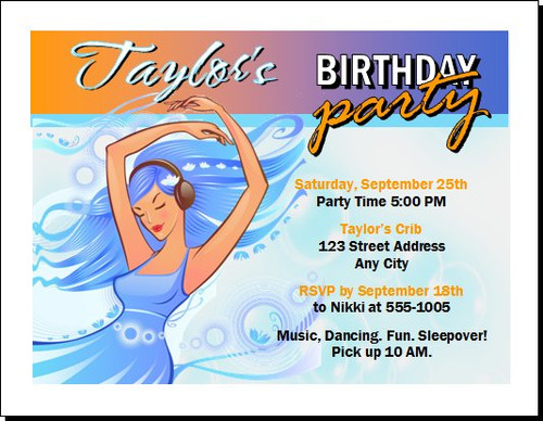 Aqua Girl Birthday Party Invitation