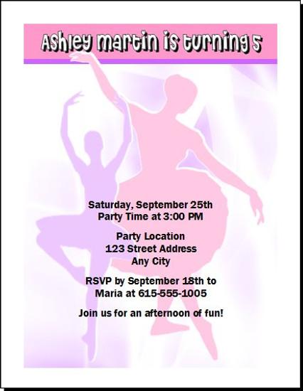 Ballerina Dancer Birthday Party Invitation