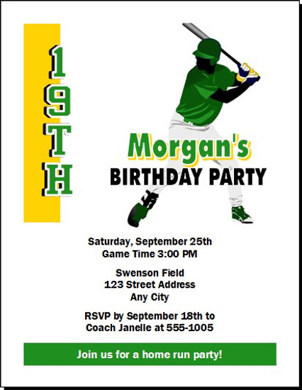 Baseball Slugger Design 2 Birthday Party Invitation