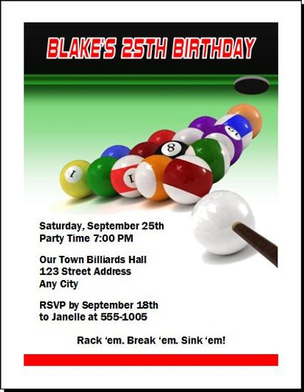 Billiards Birthday Party Invitation