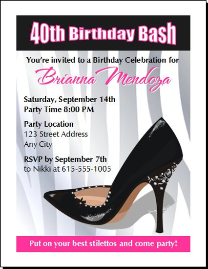 Black Stiletto Birthday Party Invitation
