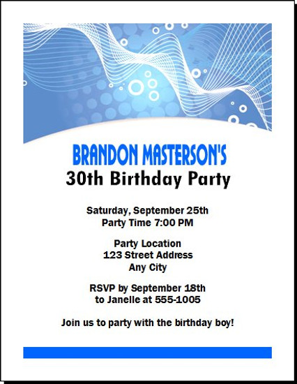 Blue Graphic Birthday Party Invitation