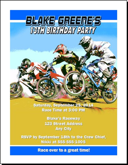 BMX Racing Blue Birthday Party Invitation