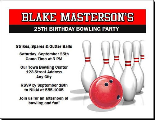 Bowling Cosmic Birthday Party Invitation