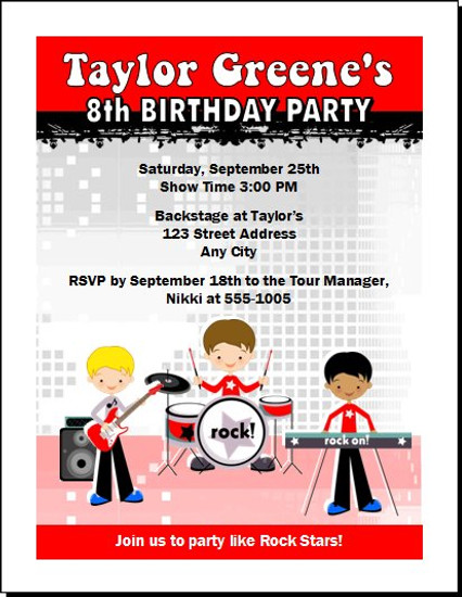 Boy Rock Band Birthday Party Invitation Red